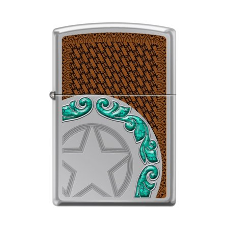 Zippo Custom Design Western Star Leather Reg Hi Pol Chrome Windproof Collectible Lighter. Made in USA Limited Edition & Rare Custom Leather Designs