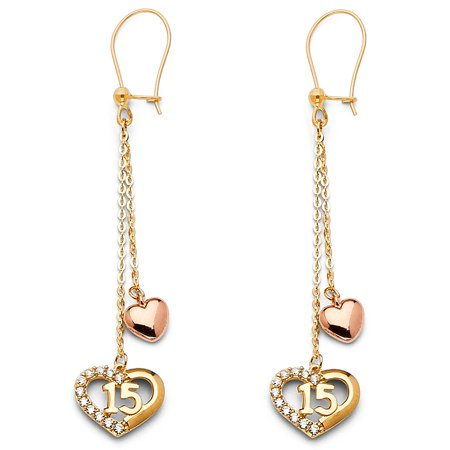 Ioka - 14K Tri Color Gold 15 Anos Quinceanera Hearts Dangle Hanging Drop Shepherds Hook Earrings