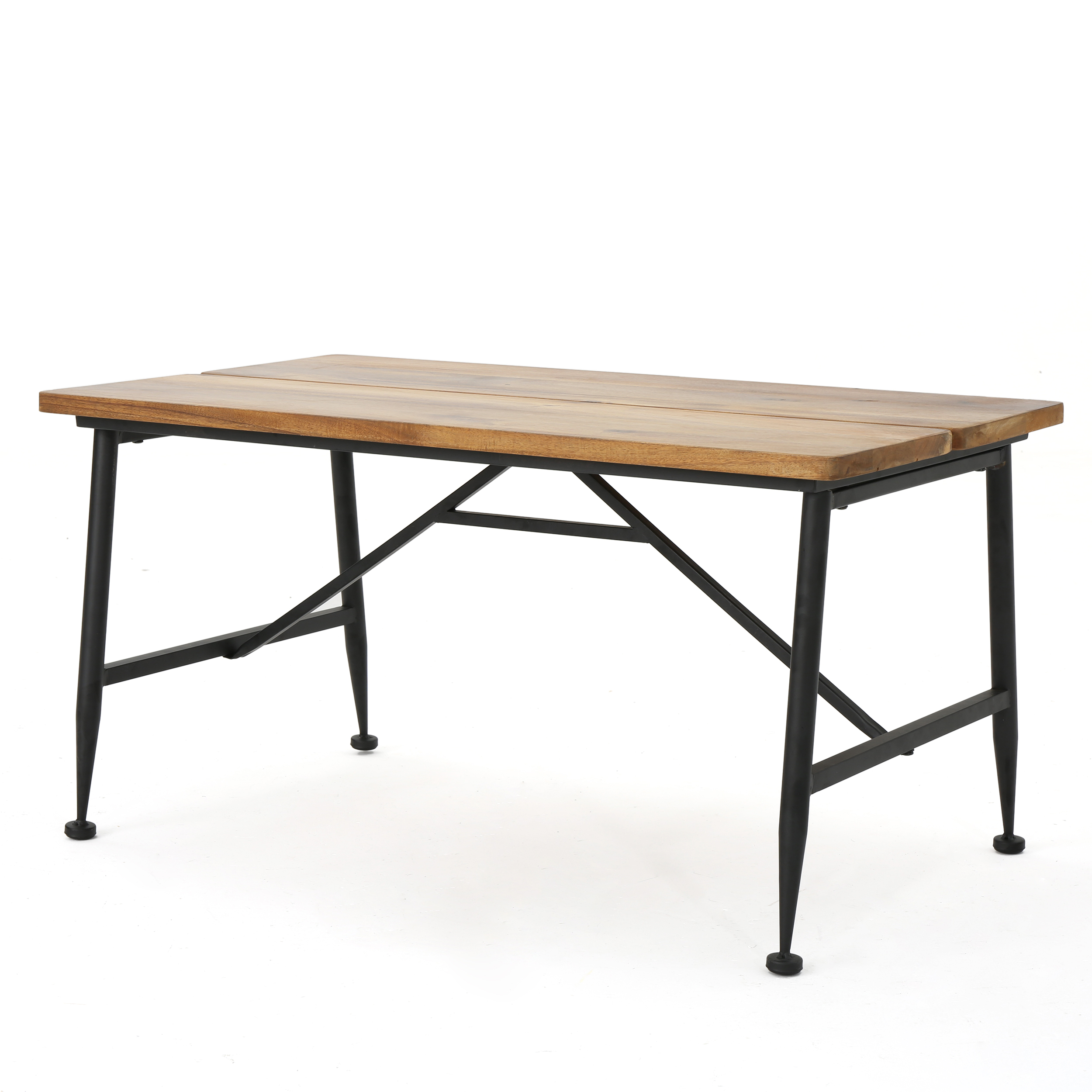 Noble House Cascada Indoor Industrial Acacia Wood Coffee Table with Iron Accents, Antique Finish, Black