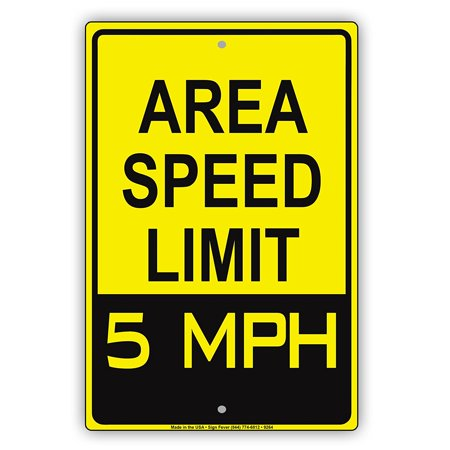 Aluminum Speed Limit Sign - Area Speed Limit 5 MPH Zone Slow Down Warning Caution Notice Aluminum Metal Sign Plate