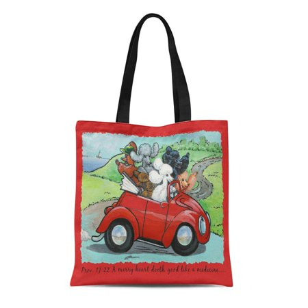 SIDONKU Canvas Tote Bag Poodle Ooodles of Vintage Red Auto Scripture Merry Heart Reusable Handbag Shoulder Grocery Shopping Bags](Poodle Purses)