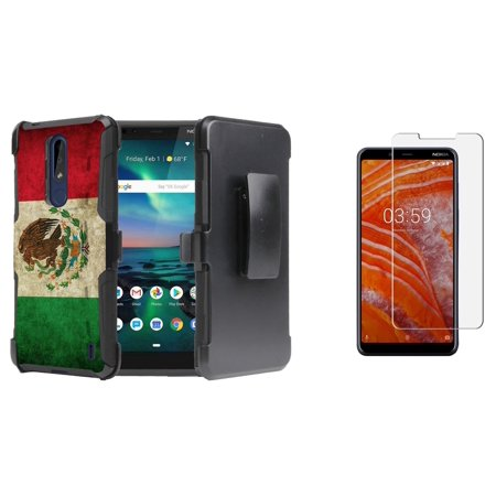 Double Layer Glass (BC Rugged Series Compatible with Nokia 3.1 Plus (Cricket) Bundle with Full Body Double Layer Armor Holster Case (Vintage Mexico), Tempered Glass Screen Protector and Atom Cloth)