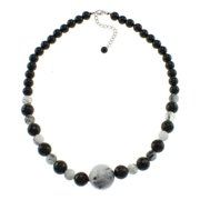 Pearlz Ocean  Black Onyx and Rutilated Quartz Necklace