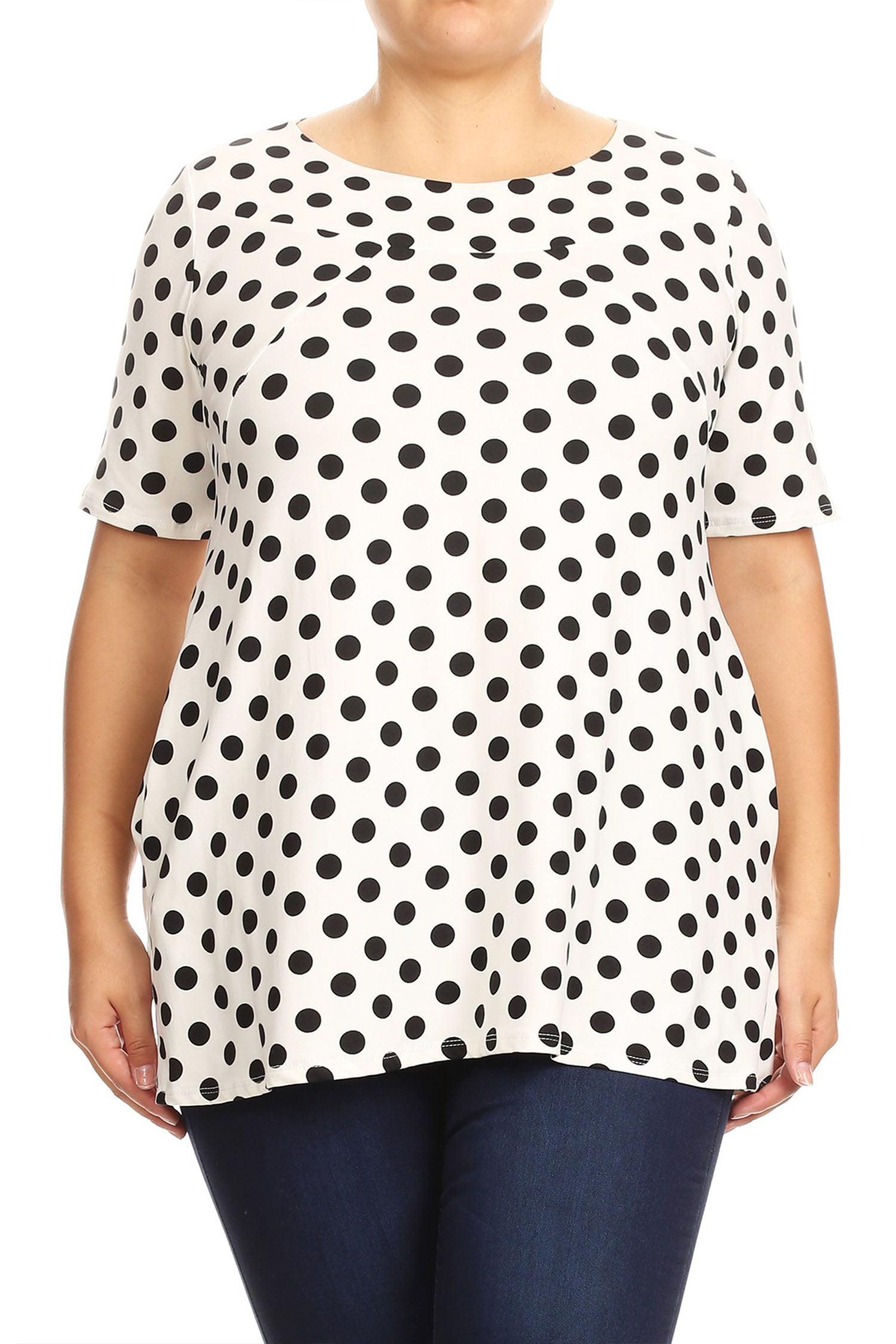 Women's Polka Dot Plus Size Short Sleeve Shirt