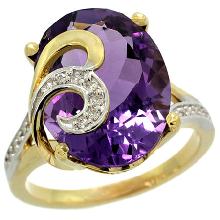 14k Yellow Gold Natural Amethyst Ring 16x12 mm Oval Shape Diamond Accent, 5/8 inch wide, size 5