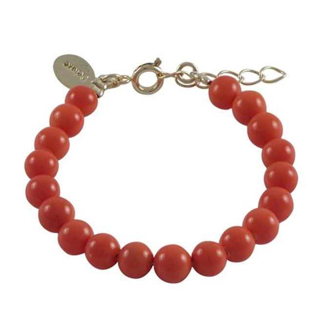 Dlux Jewels Peach Coral 6 mm Shell Pearls with Gold Plated Brass Chain Bracelet, 5 in. by Dlux Jewels