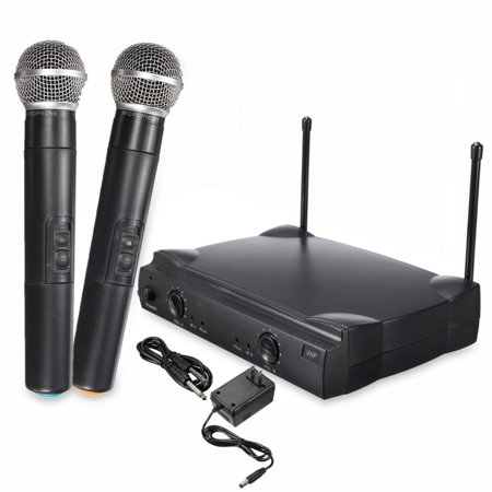 Wireless Frequency Cordless Microphone System Home Karaoke KTV Party, Adjustable Volume Controls, Includes 2 Handheld Mics (493FT Long transmission Distance)