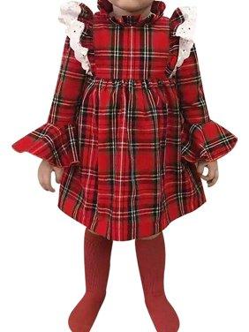 KidLuv Toddler Kids Baby Girls Christmas Tutu Plaid Dress Princess Clothes