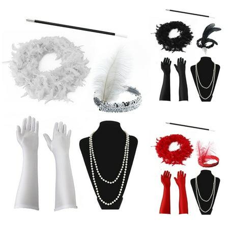 Charleston Girl Halloween Costume (5PCS Halloween Flapper Girl Fancy Dress Accessories Charleston Gangster Gatsby Girl Costume)