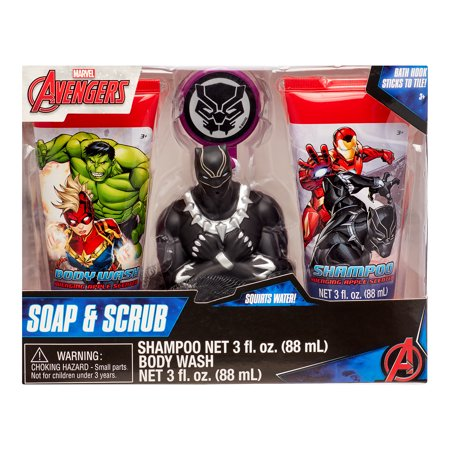 Marvel Avengers 4-Piece Soap and Scrub Body Wash and Shampoo Set
