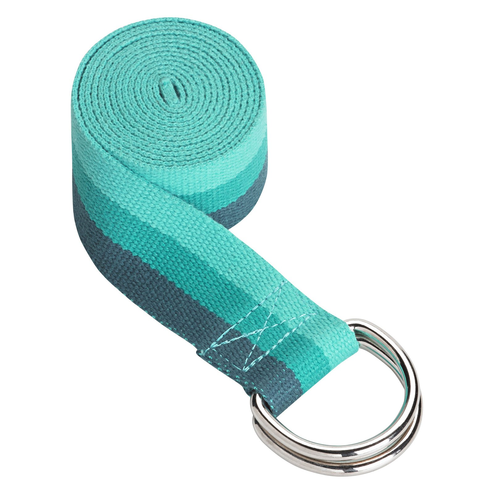 Gaiam Striped Yoga Strap, 8ft, Lush Teal