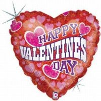 Happy Valentine's Day Wave of Cheer Foil Balloon, 4PK