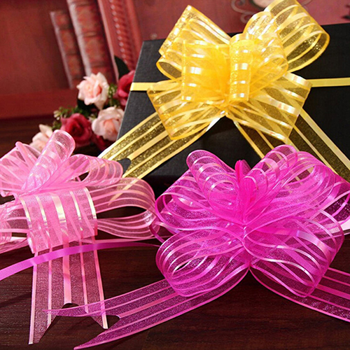 HiCoup 10 Pcs 50mm Organza Ribbon Pull Bows Wedding Party Car Decoration DIY Gift Wrap