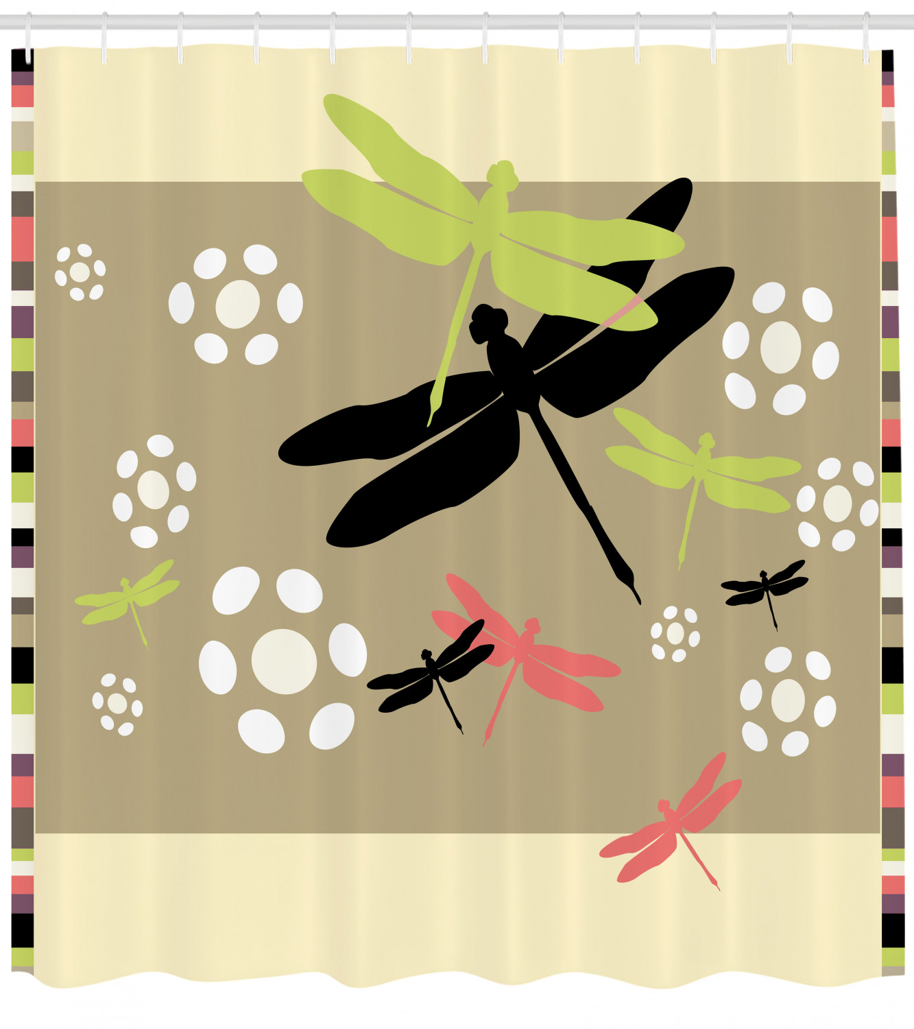 Dragonfly Shower Curtain Cute Floral Pattern With Abstract