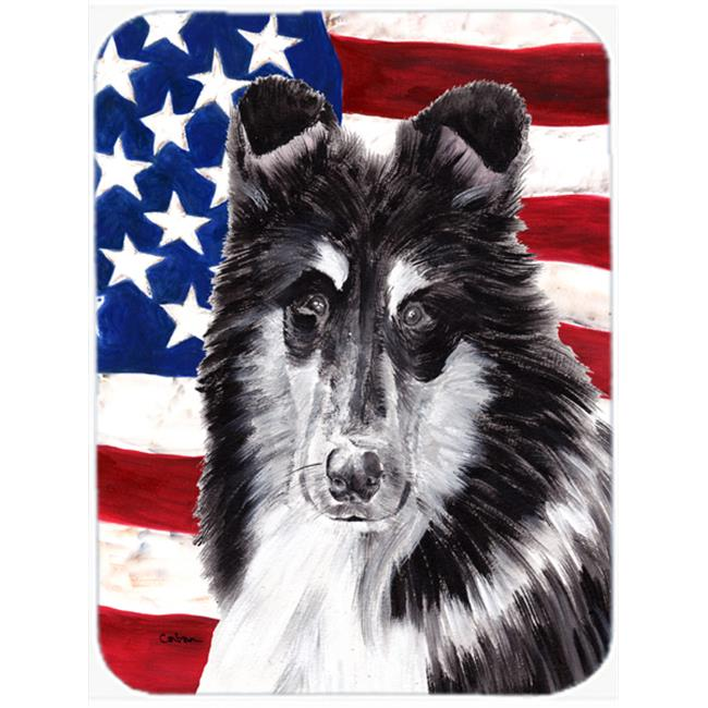 Black And White Collie With American Flag Usa Mouse Pad, Hot Pad Or Trivet, 7.75 x 9.25 In.