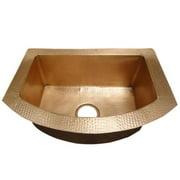 Copper Design CKS-3322-DI-DL Copper Round Drop in Kitchen Sink, Dark Light - 9 x 22 x 33 in.