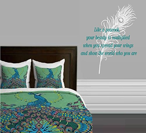 LIKE A PEACOCK, YOUR BEAUTY IS MULTIPLIED ~ WALL DECAL, HOME DECOR TWO DECALS
