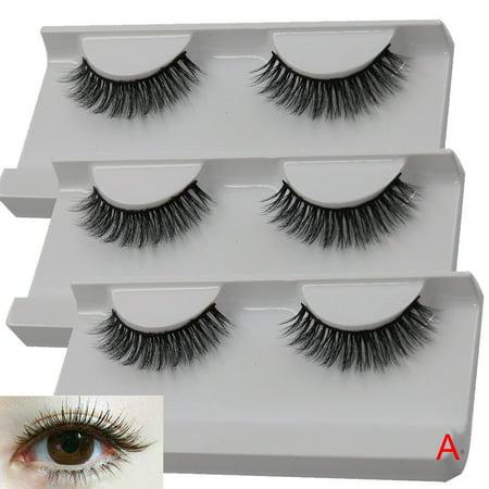 1Pairs Long Cross False Eyelashes Makeup Natural Fake Thick Black Eye Lashes A