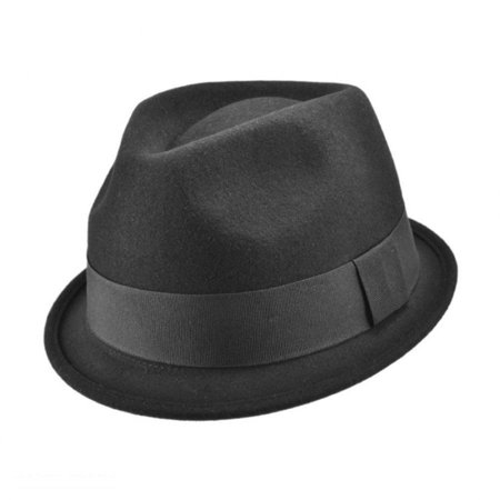 Wool Trilby Hat - Dekker Crushable Wool Felt Trilby Fedora Hat - XL - Black