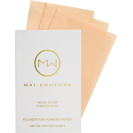 Mai Couture Foundation Powder Papier, Nude Glow, 50 Ct (Femme Couture Makeup)