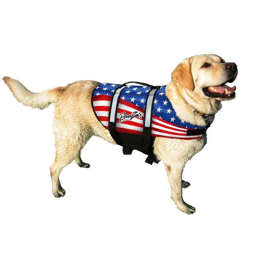 Pawz Pet Products Nylon Dog Life Jacket, Extra Large, Flag
