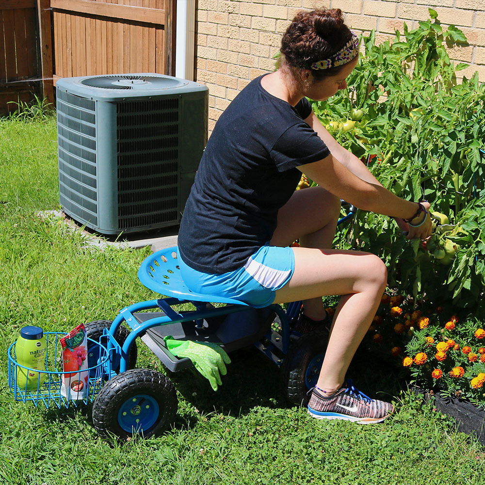 Sunnydaze Rolling Garden Cart w/ Extendable Handle Pneuma...