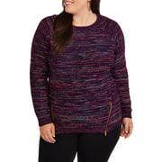Heart and Women's Plus Multi Knit Zip Side Sweater