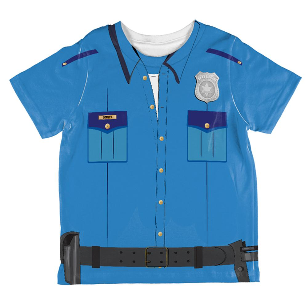 Halloween Patrol Blue Police Officer Costume All Over Toddler T Shirt