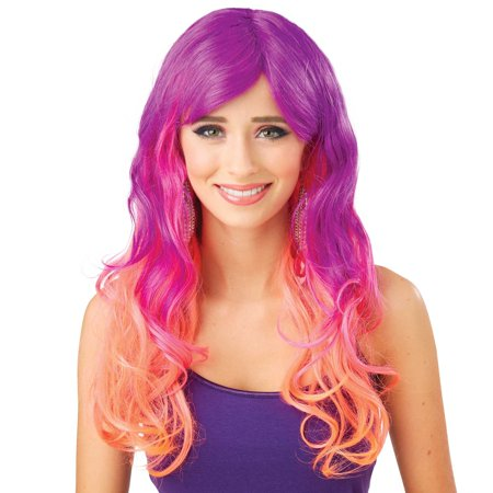 Halloween Sunset Purple Pink Orange Gradiant Wig Walmart Com