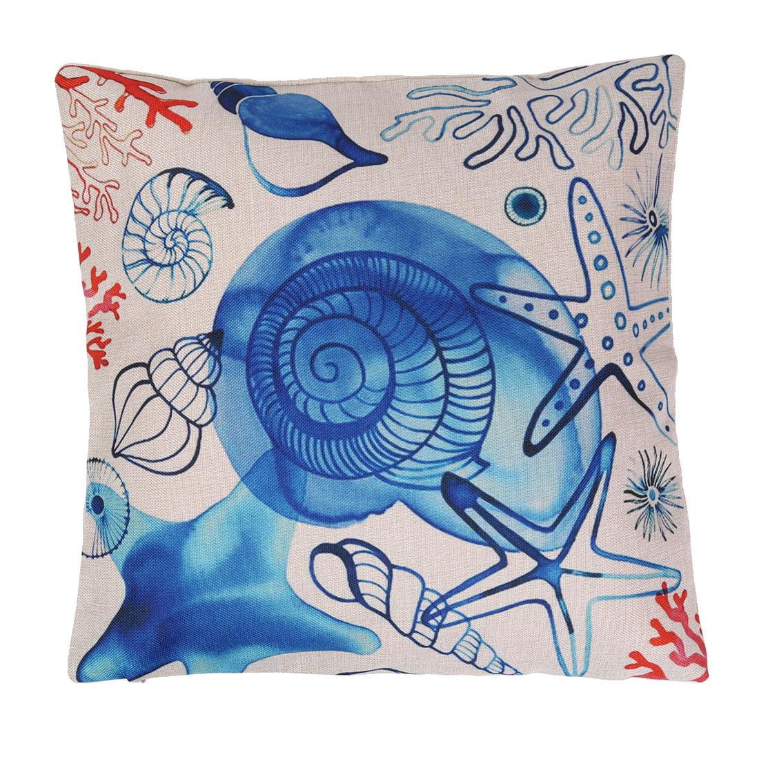 Unique BargainsHome Cotton Linen Conch Coral Print Back Pillow Cushion Pad Cover 18 x 18 Inches