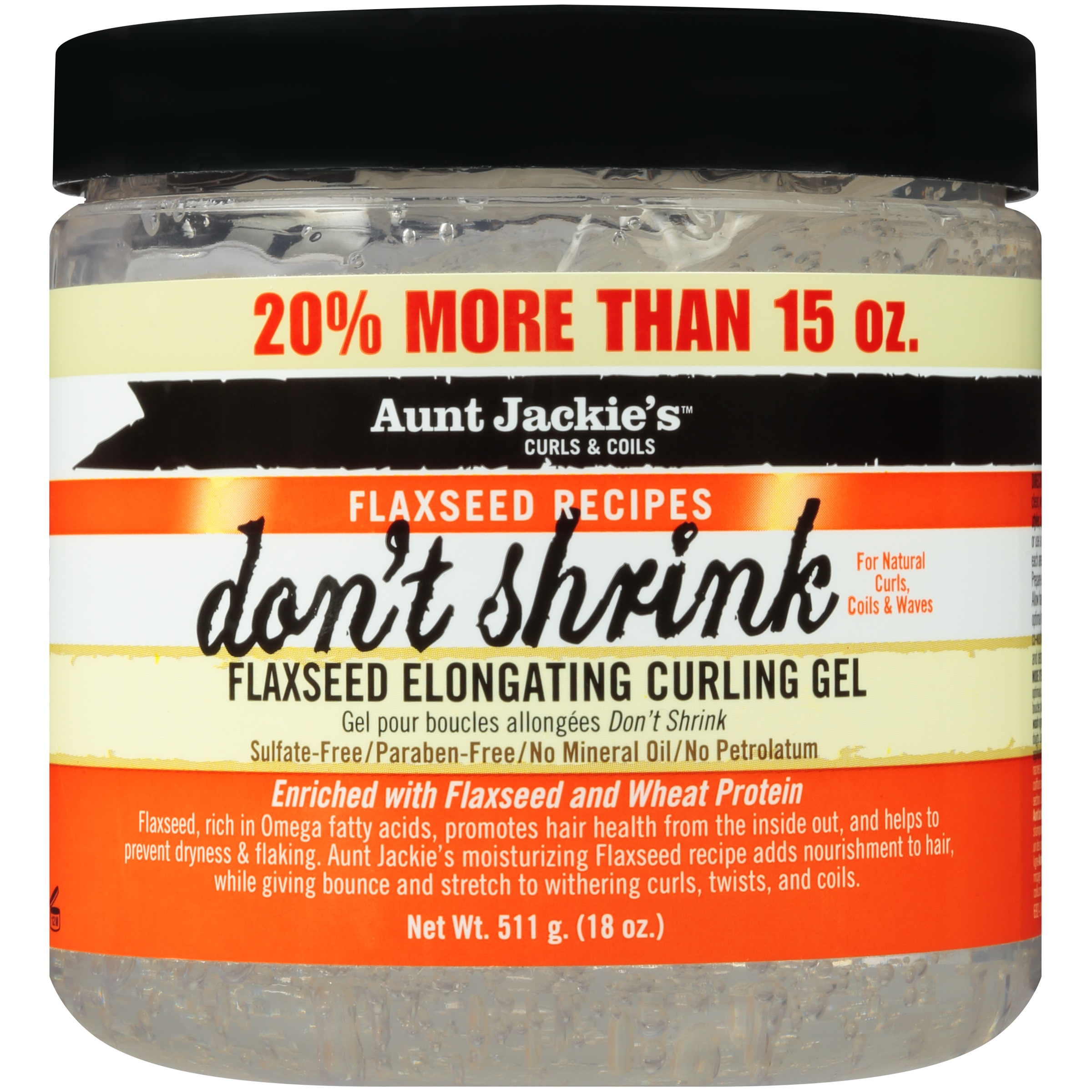 Aunt Jackie's™ Curls & Coils Flaxseed Recipes Don't Shrink Flaxseed Elongating Curling Gel 18 Oz. Jar by Aunt Jackie's