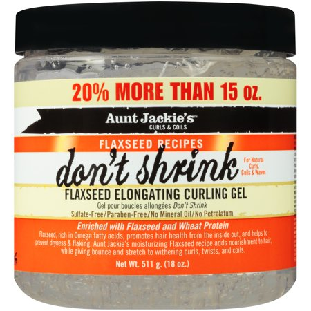 Aunt Jackie S Curls Amp Coils Flaxseed Recipes Don T Shrink Flaxseed Elongating Curling Gel 18 Oz