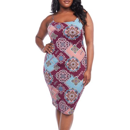 Womens Plus Size Sleeveless Strap Bodycon Dashiki Midi Dress B2910