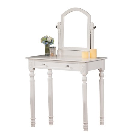 Kona White Wood Contemporary Display Vanity Table With 22-Inch Mirror & Storage Drawer