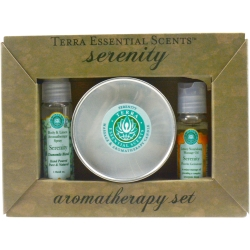 SERENITY by  - SET-TRAVEL TIN CANDLE 3 OZ & AROMATHERAPY SPRAY 1 OZ & MASSAGE OIL 1 OZ - UNISEX