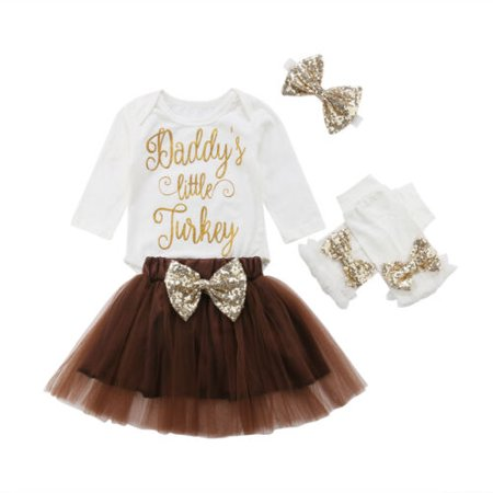 Turkey Outfit (DADDY'S LITTLE TURKEY Baby Girl infant Outfits 4PCS Tops Tutu Skirts Clothes)