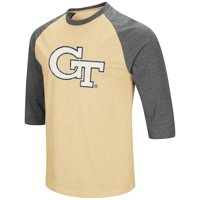Mens Georgia Tech Yellow Jackets 3/4 Sleeve Raglan Tee Shirt - S