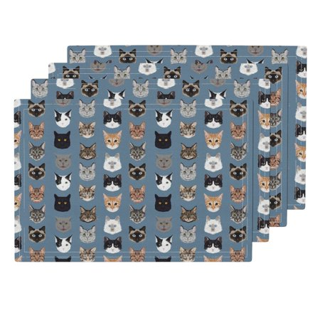 Cloth Placemats Blue Grey Cat Head Cat Faces Hello Cats Kitty Cute Set of 4