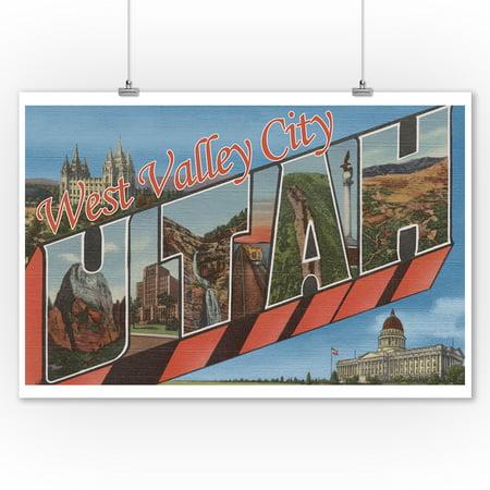 West Valley City, Utah - Large Letter Scenes (9x12 Art Print, Wall Decor Travel Poster) - City Scene