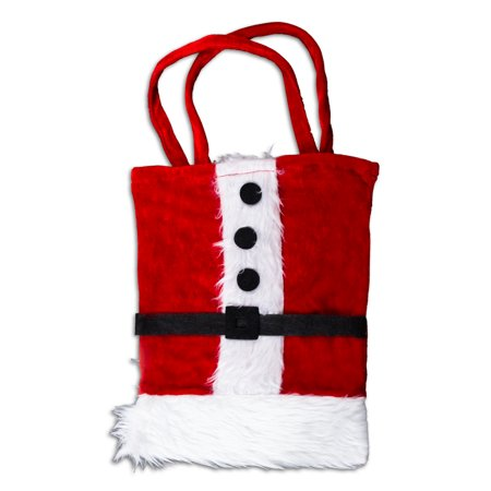 """US Toy Santa Suit with Faux Fur Large 12""""x8.5"""" Gift Bag, Red White"""