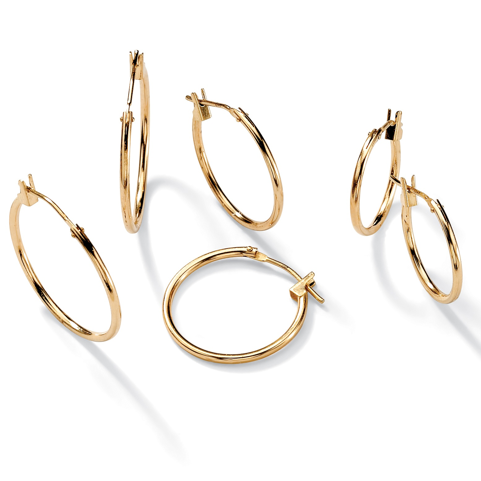 Three-Pair Set of Hoop Earrings in 10k Gold