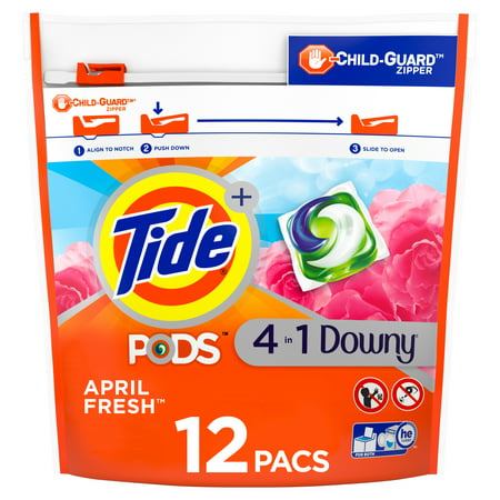 Tide PODS with Downy, Liquid Laundry Detergent Pacs, April Fresh, 12 count