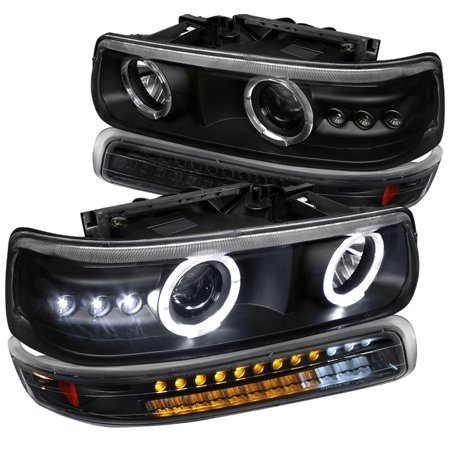 Spec-D Tuning For 2000-2006 Chevy Chevrolet 1999-2002 Tahoe Suburban Black Led Halo Projector Headlights + Led Bumper Lights (Left+Right) 1999 2000 2001 2002 2003 2004 2005 2006 ()