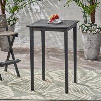 Chayah Outdoor Minimalist Acacia Wood Square Bar Table, Dark Gray