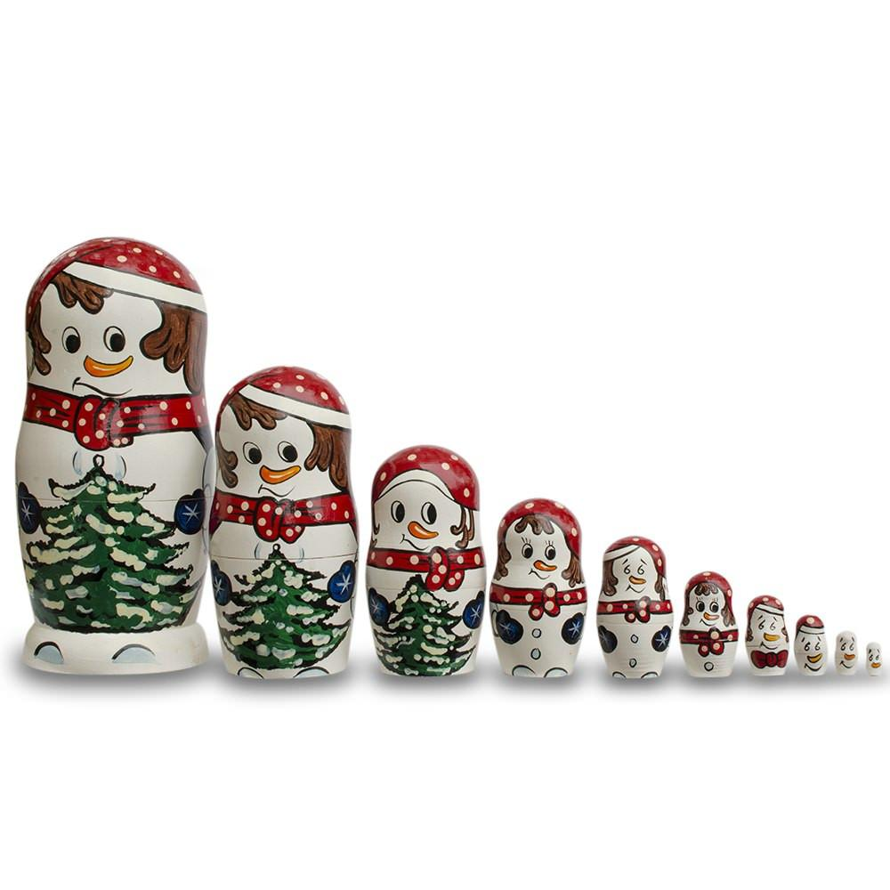 """10.25"""" Set of 10 Snowmen with Christmas Tree Wooden Nesting Dolls"""
