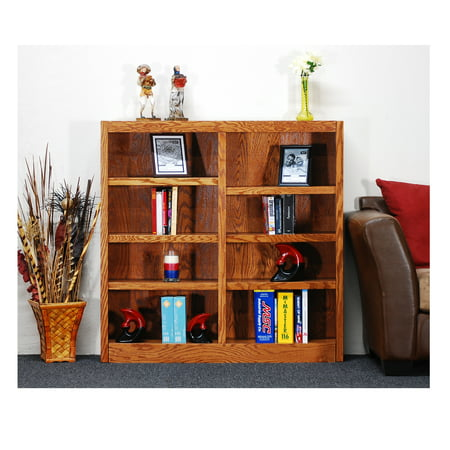 Concepts in Wood 8 Shelf Double Wide Wood Bookcase, 48 inch Tall - Oak Finish