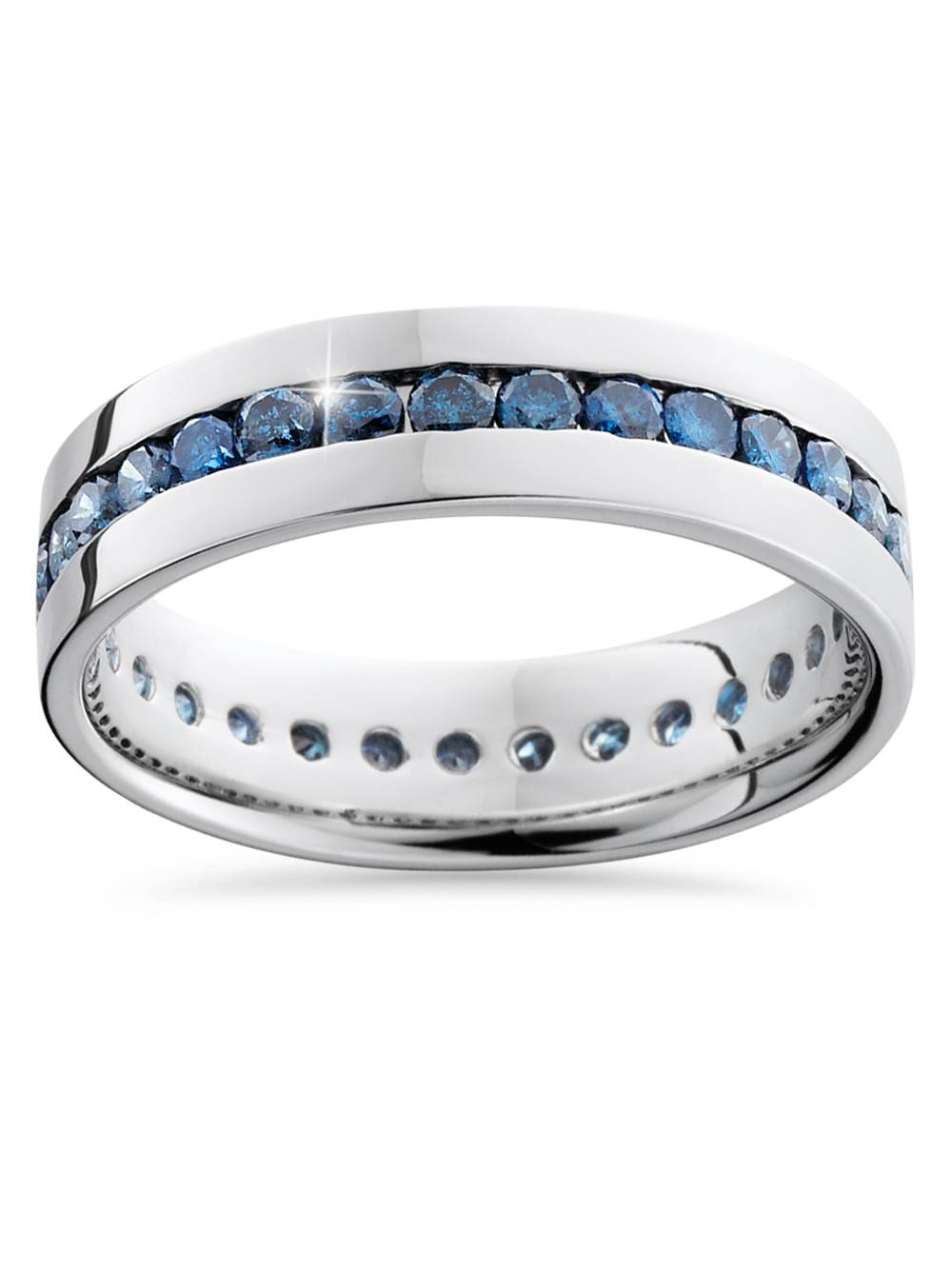 1 1/5ct Treated Blue Diamond Channel Set Eternity Ring 14K White Gold