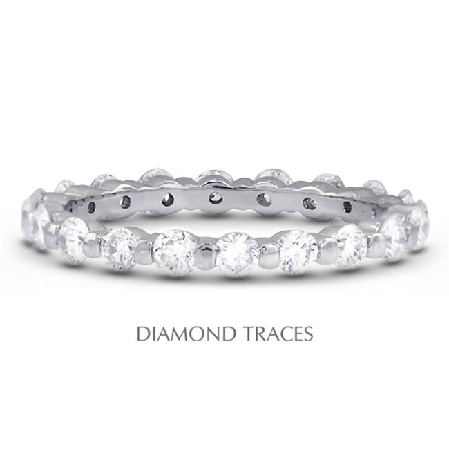 Diamond Traces UD-EWB102-1320 14K White Gold Bar Setting 1.20 Carat Total Natural Diamonds Classic Eternity Ring