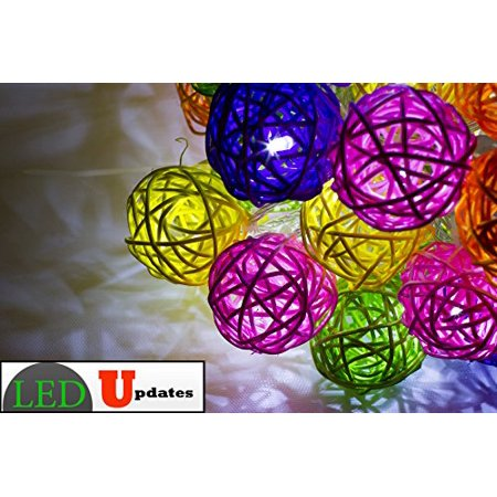 15ft LED Decoration Ball Rattan string Light rainbow color for Wedding party event ()