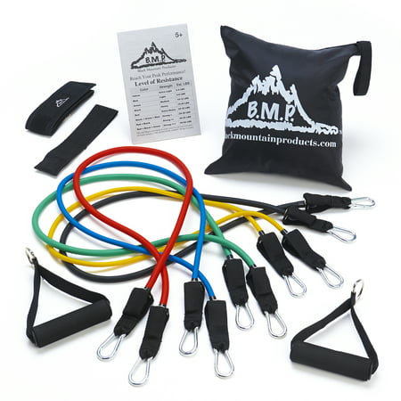 Black Mountain Products Resistance Band Set with Door Anchor, Ankle Strap, Exercise Chart, and Resistance Band Carrying (Foam Roller It Band Exercise)